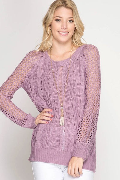 Cara Cable Knit Pullover - Lavender - LilloBellaBoutique.com