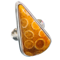 Large Fossil Coral Sterling Silver Ring Size 7