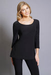 Compli K Basic Round Neck Tunic Top - Black. - LilloBellaBoutique.com