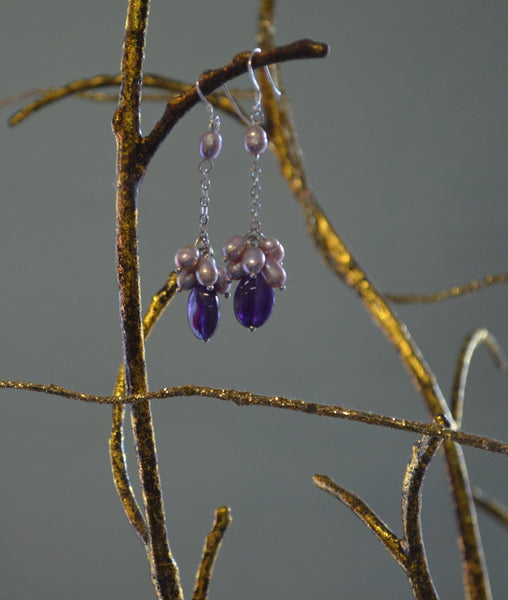 Princess Amethyst & Pearl Drop Earrings - LilloBellaBoutique.com