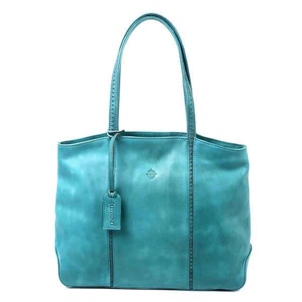 Dancing Bamboo Leather Tote - Aqua - LilloBellaBoutique.com