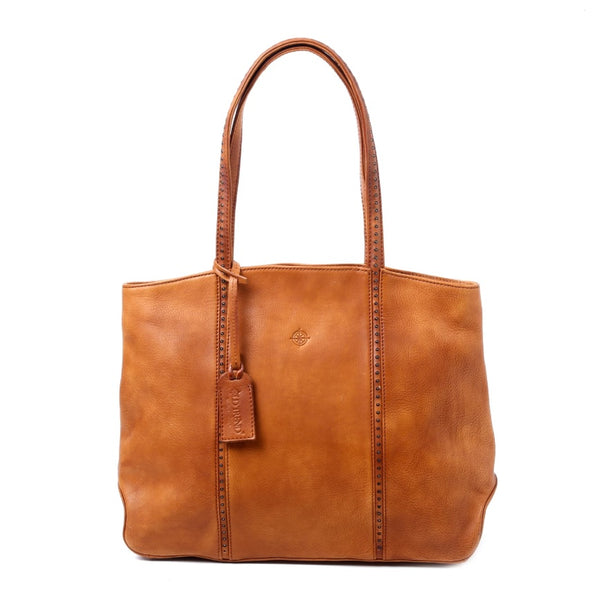 Dancing Bamboo Leather Tote - Chestnut - LilloBellaBoutique.com