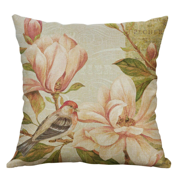 Cotton Linen Pillow Case 18 x 18 set of 2 - Perching Bird