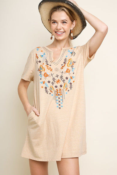 Candice Embroidered Dress - Sand
