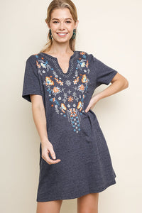 Candice Embroidered Dress - Denim