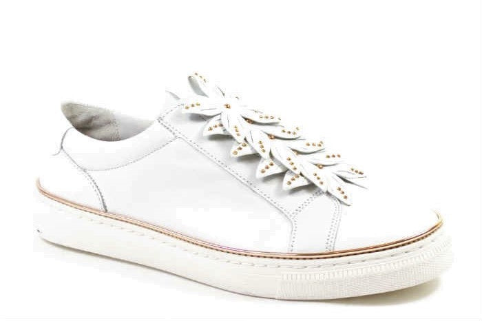 Gabor Floral Leather Sneaker - White