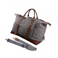 Large Retro Canvas And Leather Duffle Travel Bag - Grey