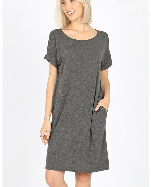 Rolled Sleeve Knit Dress - Charcoal