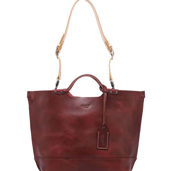 Gypsy Soul Leather Tote - Burgundy - LilloBellaBoutique.com