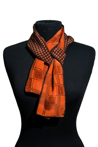 Harshita Designs Tubular Silk Chiffon Scarf -Burnt Umber