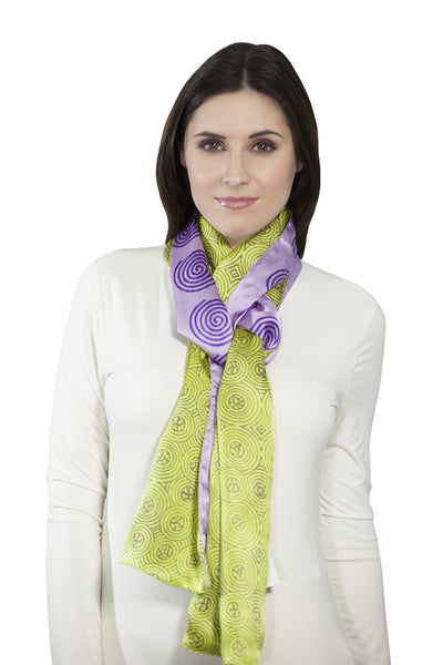 Harshita Designs Double Sided Silk Scarf - Celery Lilac