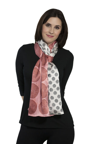 Harshita Designs Double Sided Silk Scarf - Rose Red Zebra - LilloBellaBoutique.com