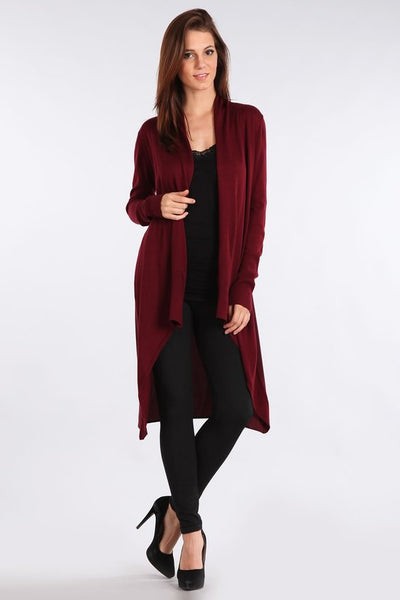 Chiffon Contrast Long Cardigan - Bordeaux