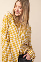 Gingham Happy Shirt - Mustard