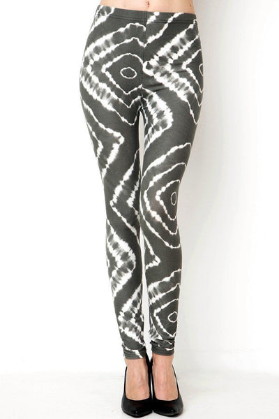 Square Tie Dye Print Legging - Grey