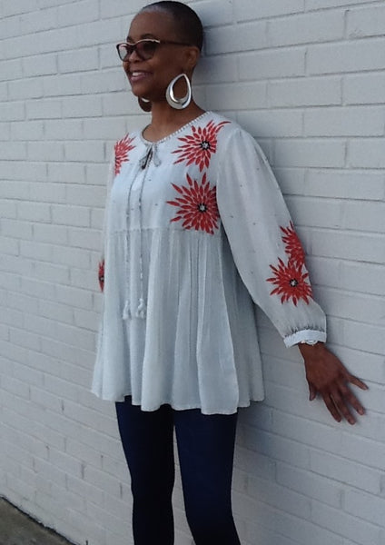 Blooming Flowers Tunic Top