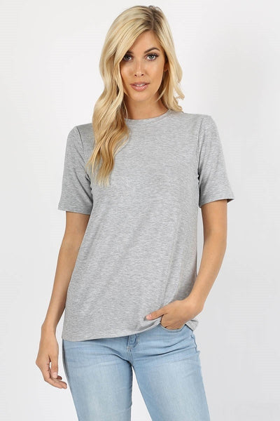 Everyday Crew Neck Tee - Heather Grey - LilloBellaBoutique.com