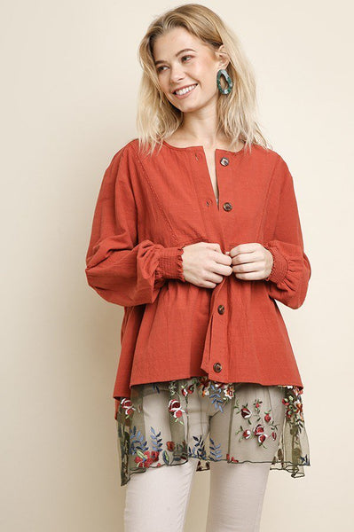 Lucretia Cotton Jacket - Terracotta - LilloBellaBoutique.com