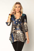 Lior Paris V-Neck Serengeti Print Tunic Top