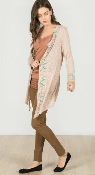 Laurel Embroidered Cardigan - Dunes
