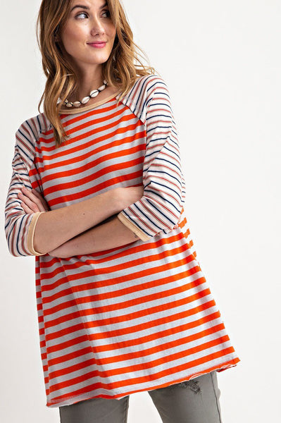 Cali Stripe Tunic Top - Orange