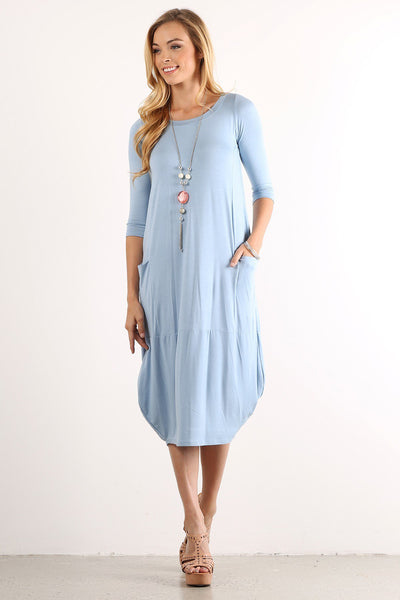 Graceful Style Midi Dress - Blue