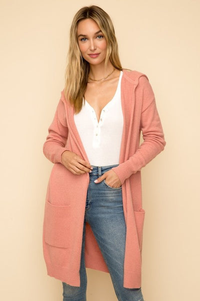 Zelda Hoodie Duster Cardigan - Vintage Rose - LilloBellaBoutique.com