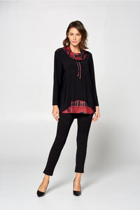 By JJ Contrast Print Cowl Neck Tunic