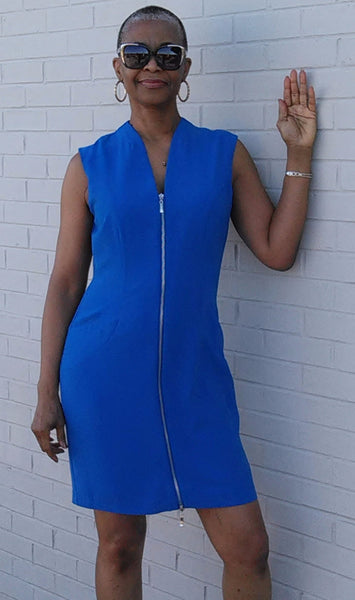 Front Zip Dress - Blue
