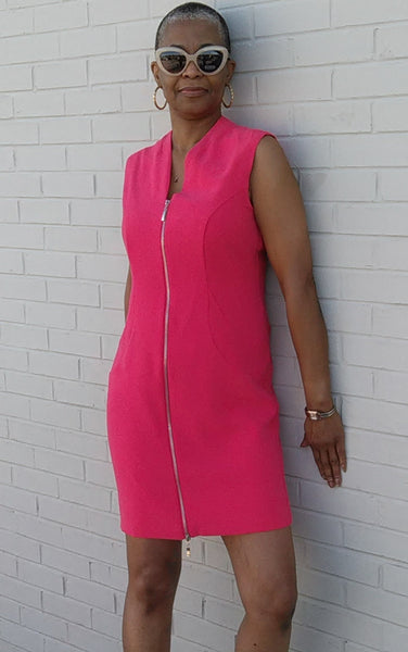 Front Zip Dress - Lipstick - LilloBellaBoutique.com