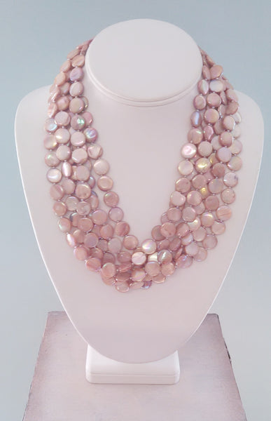 6 Strand Abalone Shell Disc Necklace - LilloBellaBoutique.com