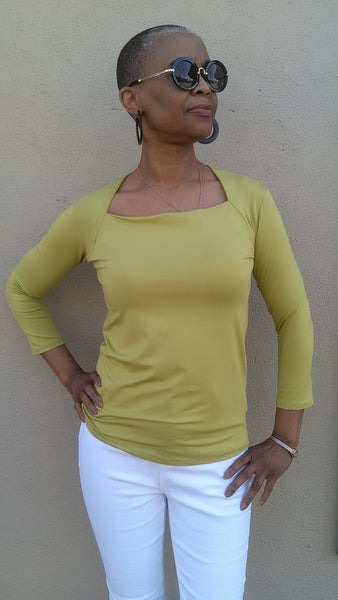 Moovment Design Atha Square Neck Top - Lime - LilloBellaBoutique.com