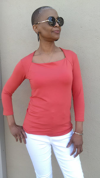 Moovment Design Atha Square Neck Top - Tangerine