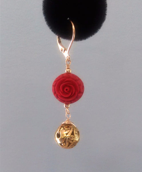 Carved Red Cinnabar & Gold Vermeil Bali Bead Earring