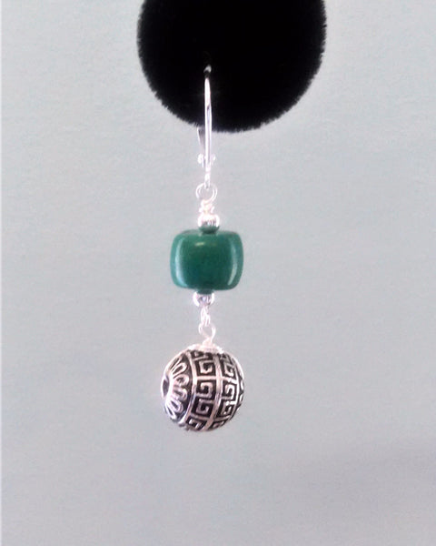Green Turquoise Sterling Silver Earring