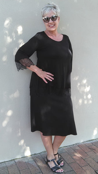 Lace Trimmed Tunic Top - Black