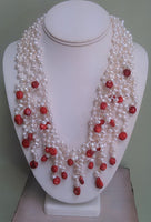 Pearl and Red Coral Necklace - LilloBellaBoutique.com