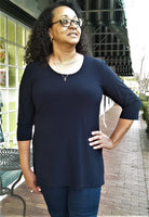 Compli K Basic Round Neck Tunic Top - Navy. - LilloBellaBoutique.com