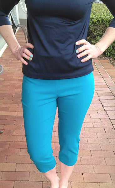 Classic Slim Fit Pull On Capri Pant - Turquoise