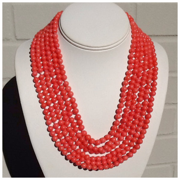 La Rosa Multi-Strand Coral Necklace