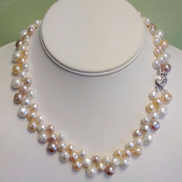Covalin Woven Freshwater Pearl Necklace