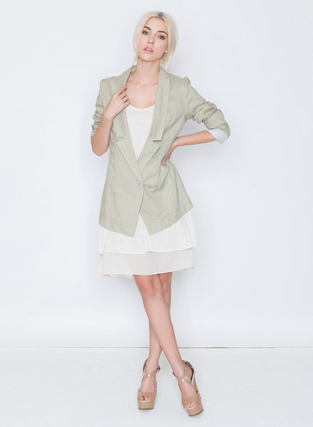 Imogen Notched Collar Linen Blazer - Sage - LilloBellaBoutique.com