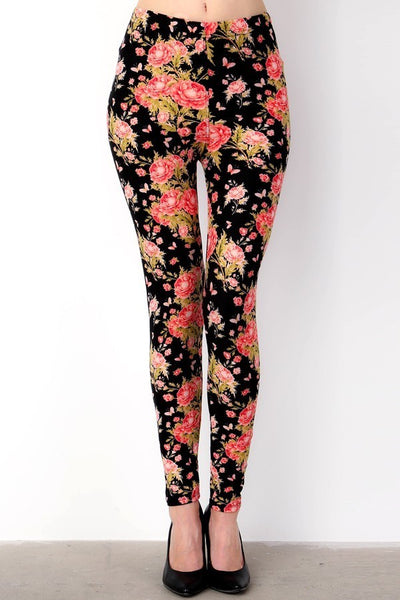 Midnight Bouquet Print Leggings - LilloBellaBoutique.com