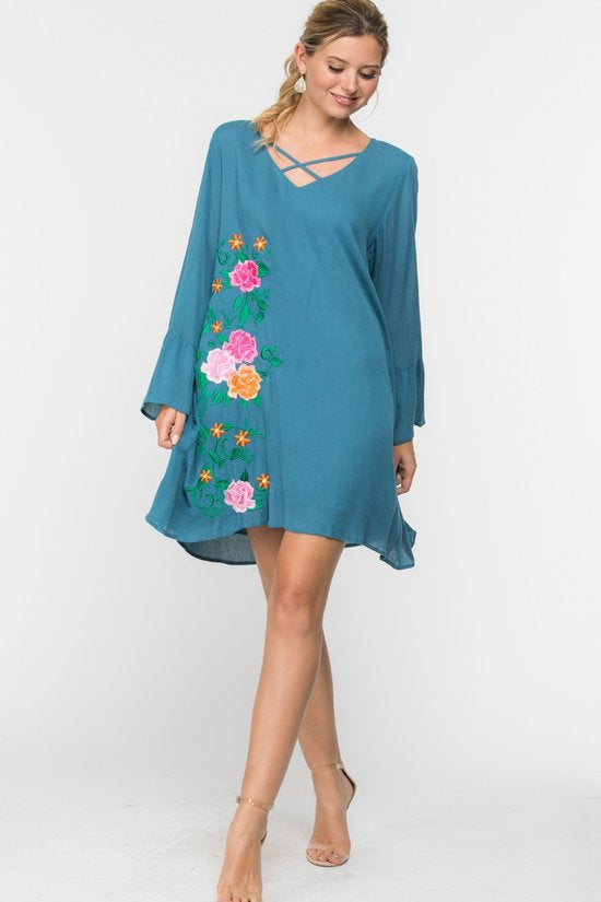 Going Out Shift Dress - Teal