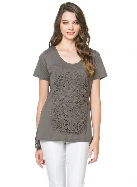 Candace Lace Tee - Charcoal - LilloBellaBoutique.com