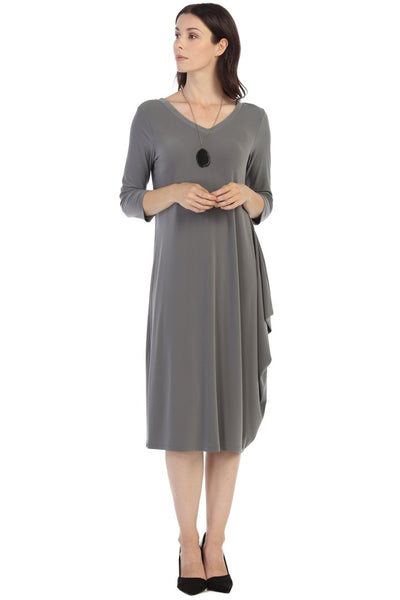 By JJ Reversible  3/4 Sleeve Drape Dress - Steel