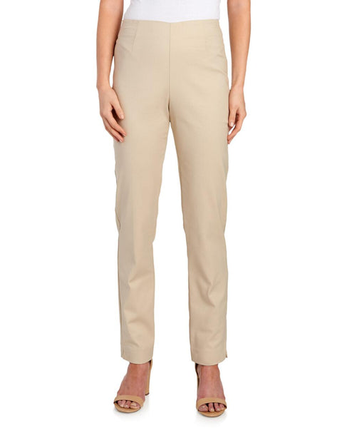 Flat Front Comfort Fit Pull On Pant - Stone