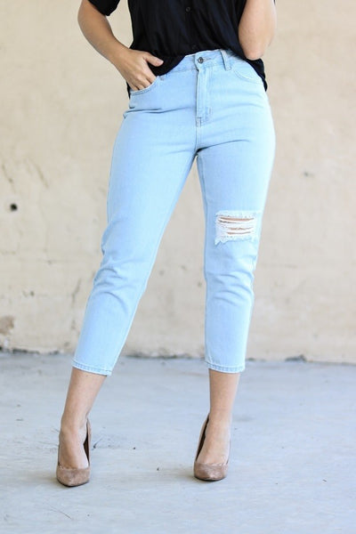 Camilla Ripped Crop Jeans - LilloBellaBoutique.com