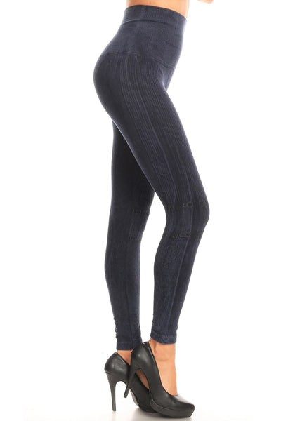 Luxe High Waist Jacquard Legging - Washed Denim - LilloBellaBoutique.com