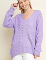 Marlene Hi-Low Pullover Sweater -Lilac - LilloBellaBoutique.com